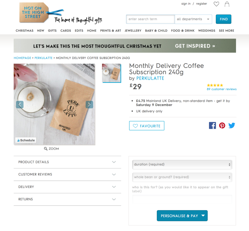 Coffee Subscription - Christmas gifts for men