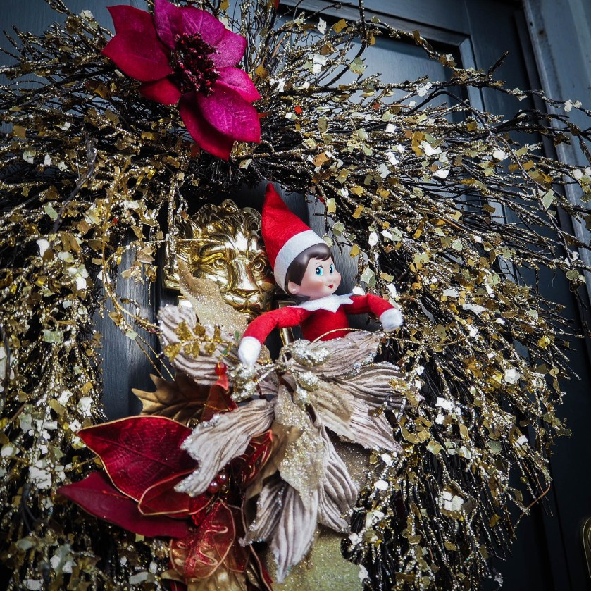 elf on the door wreath