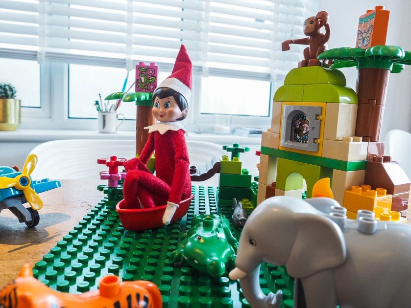 elf playing with lego