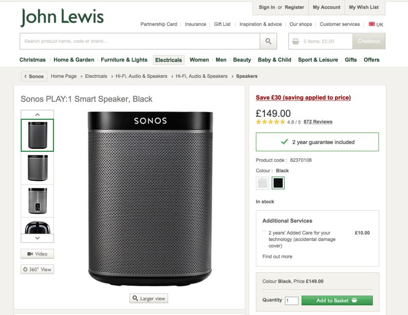 Sonos Play 1 Smart Speaker